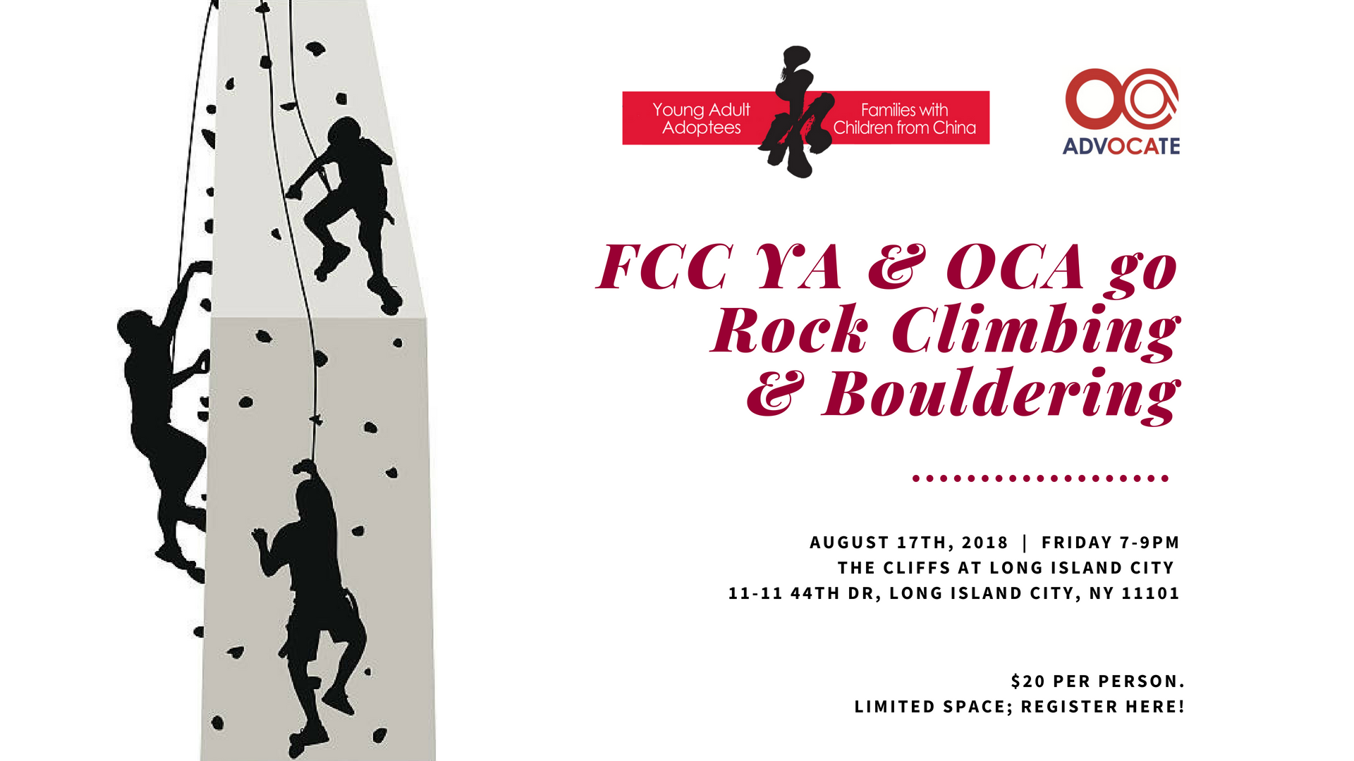 Fcc Youngs Will Be Partnering With Oca Asian American Advocates For A Night Of Rock Climbing Bouldering At The Cliffs
